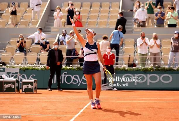 Match Winner Barbora Krejcikova of Czech Republic celebrates after the Women's final on day fourteen of the 2021 French Open at Roland Garros on June...
