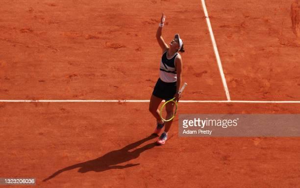 Match Winner Barbora Krejcikova of Czech Republic celebrates match point after the Women's final on day fourteen of the 2021 French Open at Roland...
