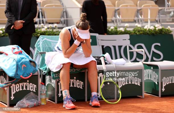 Match Winner Barbora Krejcikova of Czech Republic looks on after the Women's final on day fourteen of the 2021 French Open at Roland Garros on June...