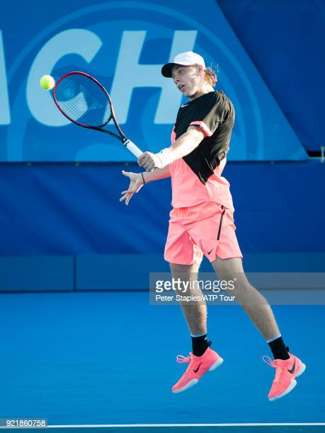 Match winner Denis Shapovalov of Canada in action against Ivo Karlovic of Croatia at the Delray Beach Open held at the Delray Beach Stadium Tennis...