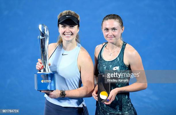 Match winner Elina Svitolina of Ukraine and runnerup Aliaksandra Sasnovich of Bulgaria pose for a photo after the Women's Final during day seven of...