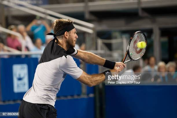 Match winner Juan Martin Del Potro of Argentina in action against Jeremy Chardy of France at the Delray Beach Open held at the Delray Beach Stadium...