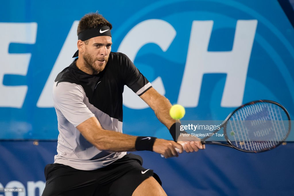 Match winner Juan Martin Del Potro of Argentina in action against Jeremy Chardy of France at the Delray Beach Open held at the Delray Beach Stadium & Tennis Center on February 20, 2018 in Delray Beach, Florida