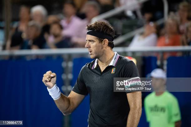 Match winner Juan Martin Del Potro of Argentina pumps his fist to his team during action against Reilly Opelka of USA at the Delray Beach Open held...