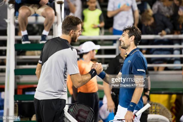 Match winner Juan Martin Del Potro of Argentina shakes hands with Jeremy Chardy of France at the Delray Beach Open held at the Delray Beach Stadium...