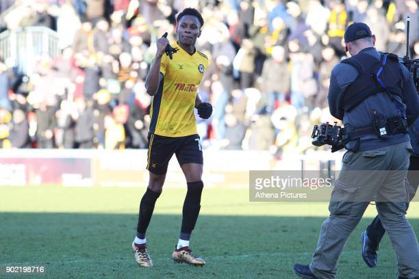 Match winner Shawn McCoulsky of Newport County celebrates after the final whistle of the Fly Emirates FA Cup Third Round match between Newport County...