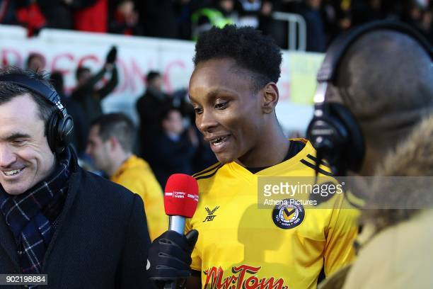Match winner Shawn McCoulsky of Newport County celebrates as he talks to the BBC after the final whistle of the Fly Emirates FA Cup Third Round match...