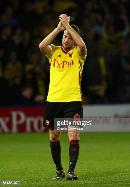 Match winning goal scorerTom Cleverley of Watford celebrates victory after the Premier League match between Watford and Arsenal at Vicarage Road on...