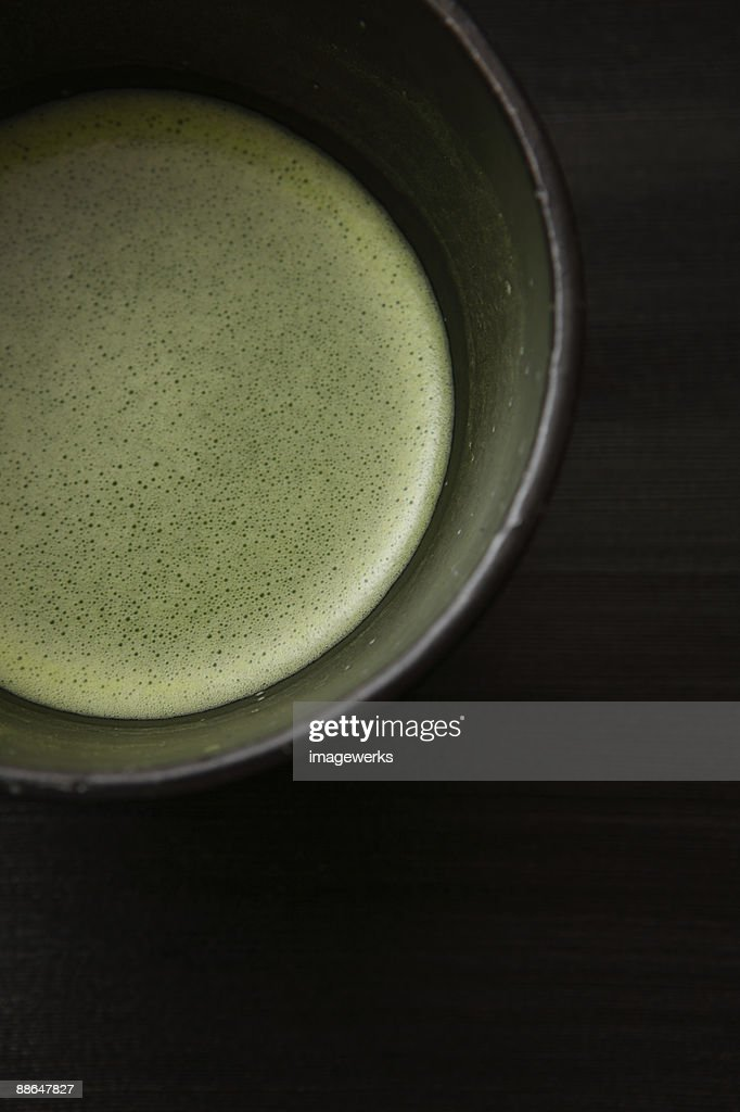 Matcha (Japanese powdered green tea), close-up : Stock Photo