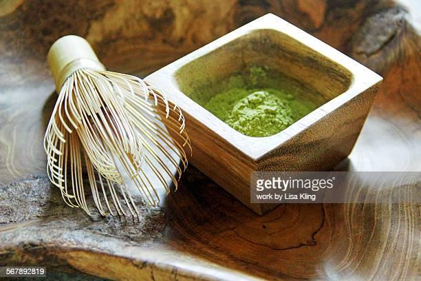 Matcha Green Tea Powder and Whisk