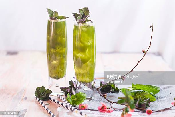 Matcha Iced Green Tea with mint and lemon balm