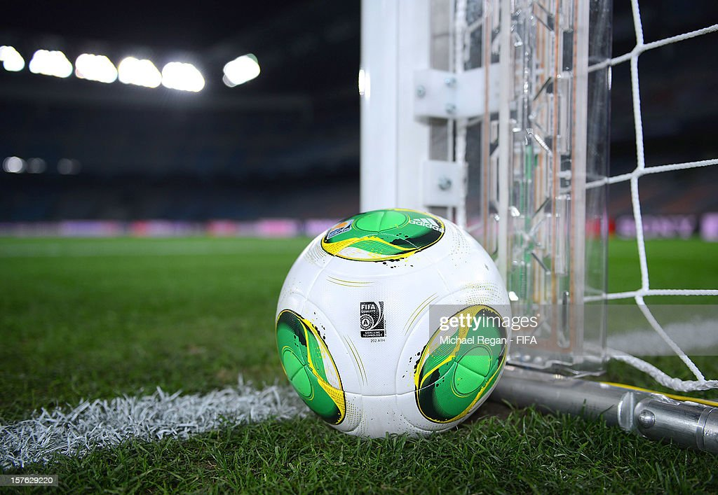 A matchball built with GoalRef technology during the Goal-Line Technology demonstration at International Stadium Yokohama on December 5, 2012 in Yokohama, Japan.