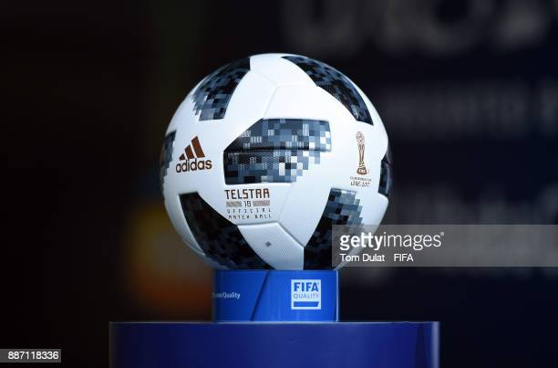 A matchball is pictured during the FIFA Club World Cup UAE 2017 match between Al Jazira and Auckland City FC at Hazza bin Zayed Stadium on December 6...