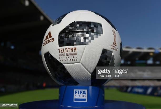 A matchball is pictured prior to the FIFA Club World Cup UAE 2017 match between CF Pachuca and Wydad Casablanca at Zayed Sports City Stadium on...