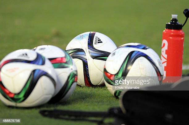 Matchballs are seen during the Nadeshiko League match between Urawa Red Diamonds Ladies and Okayama Yunogo Belle at Komaba Stadium on September 13,...