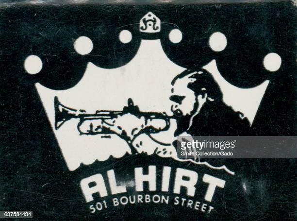 Matchbook cover image for the Al Hirt nightclub on Bourbon Street in New Orleans Louisiana featuring an illustration of a jazz trumpeter 1975