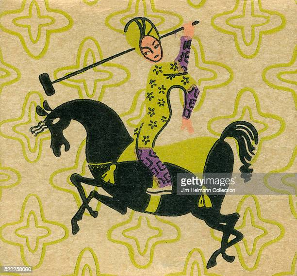 Matchbook image of a flamboyantly dressed man on horseback with decorative pattern in background