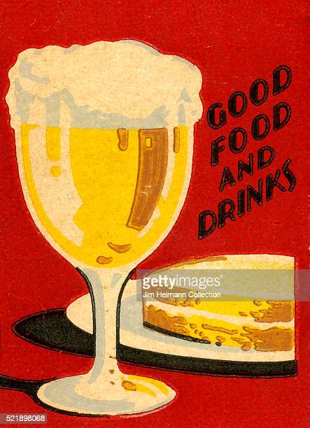 Matchbook image of a frothy beer and a sandwich