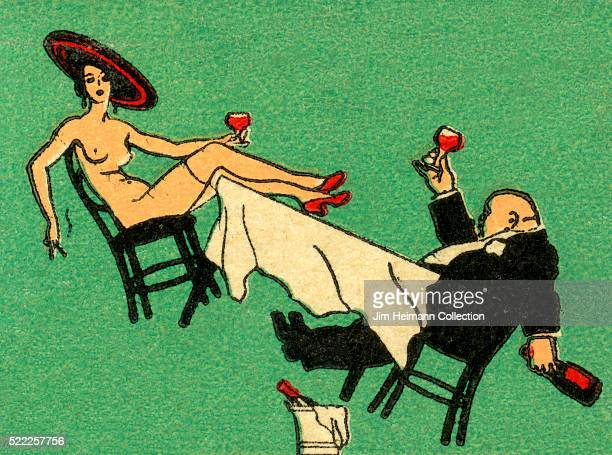Matchbook image of a nude lady and bald man in tuxedo sitting at a table which is toppling over as they drink glasses of wine as an advertisement for...