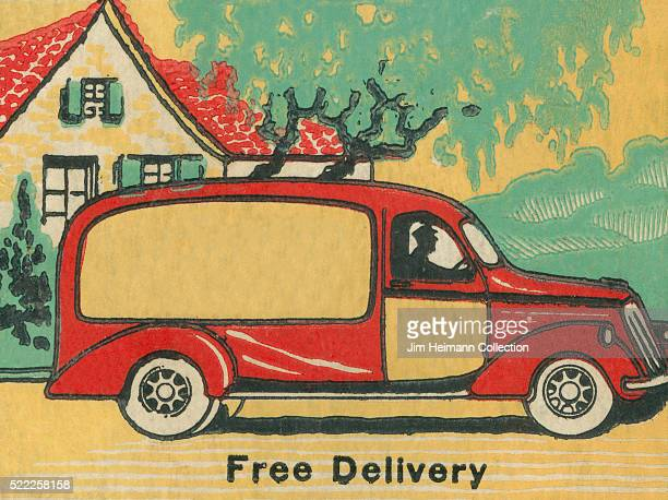 Matchbook image of a red and yellow delivery truck parked in front of a house