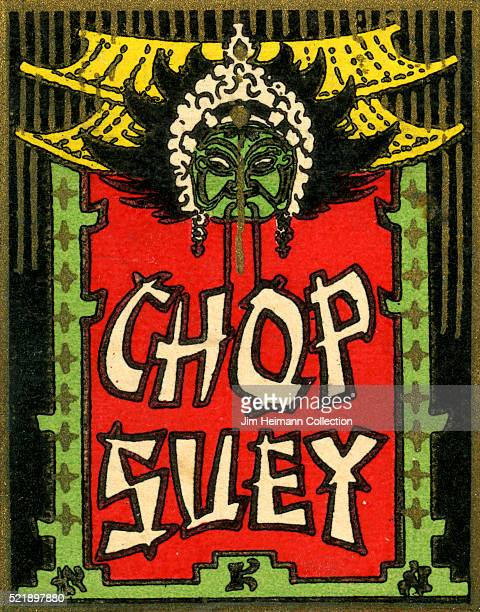 Matchbook image of a sign for a Chinese restaurant advertising chop suey