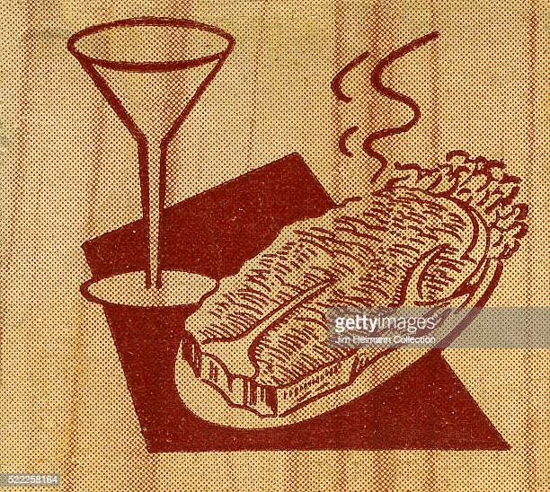 Matchbook image of a steak and cocktail
