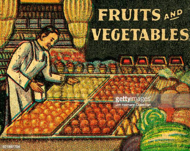 Matchbook image of a vendor working at a fruit and vegetable market with rows up produce lined up