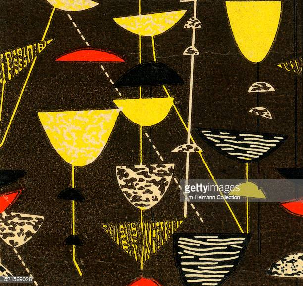 Matchbook image of abstract collection of cocktail glasses
