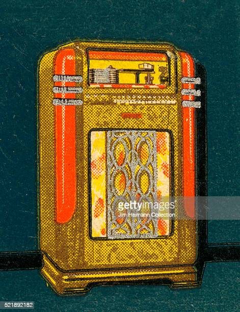 Matchbook image of an old fashioned music playing jukebox