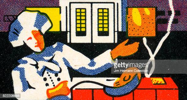 Matchbook image of chef wearing chef's hat tosses food in frying pan