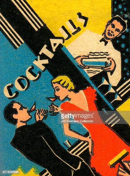 Matchbook image of couple drinking cocktails as bartender mixed one in a shaker Text Cocktails