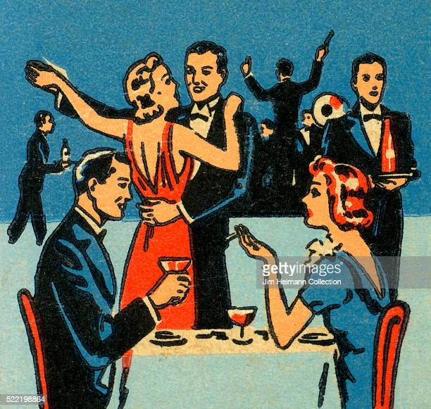 Matchbook image of couple having drinks at table woman is smoking Behind them another couple is dancing Band plays in background
