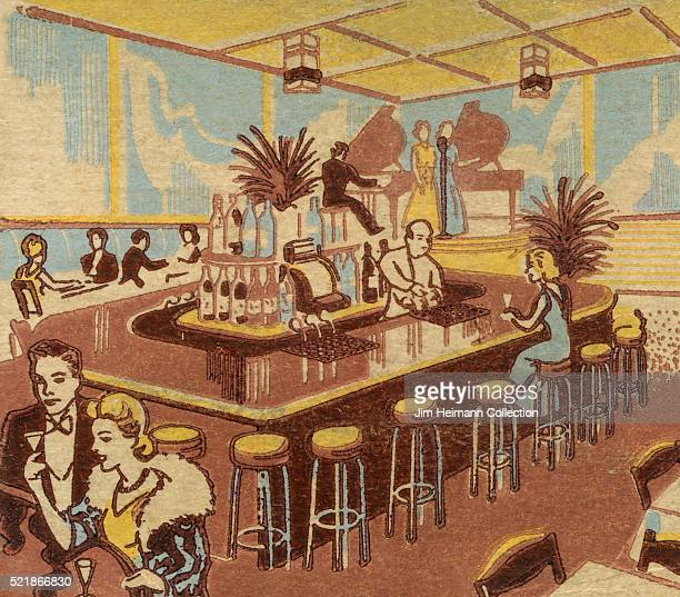Matchbook image of elegantly dressed men and women having drinks at bar and lounge Musicians in background