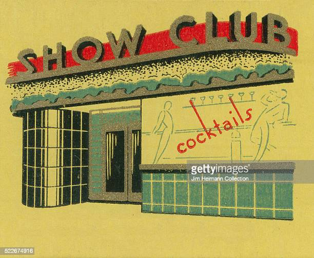 Matchbook image of exterior tiled nightclub Ad for Show Club