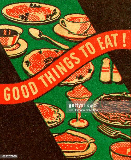 Matchbook image of food and beverages spread out on green table with title that reads 'Good Things to Eat'