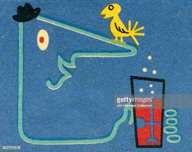 Matchbook image of graphic lineal depiction of man wearing a hat holding bubbling drink A bird sits on his nose