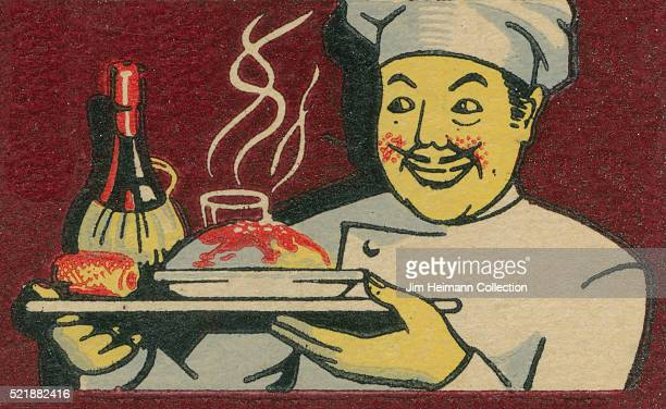 Matchbook image of grinning chef in chef's hat holding steaming food and bottle of wine