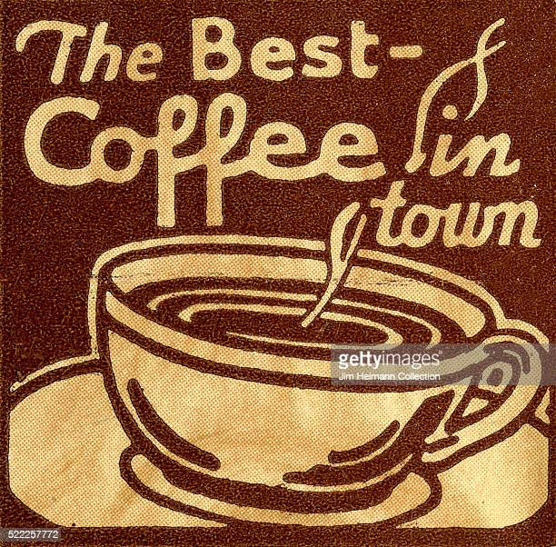 Matchbook image of hot coffee cup against a brown background with the title 'Best Coffee in Town'