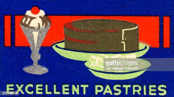 Matchbook image of ice cream sundae in tall glass next to cake and a plate of cookies