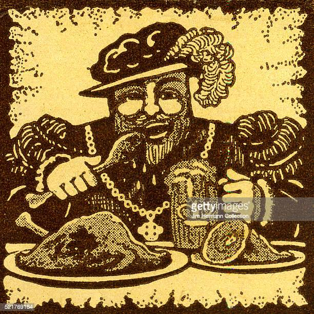 Matchbook image of King feasting on roasted fowl ham and stout