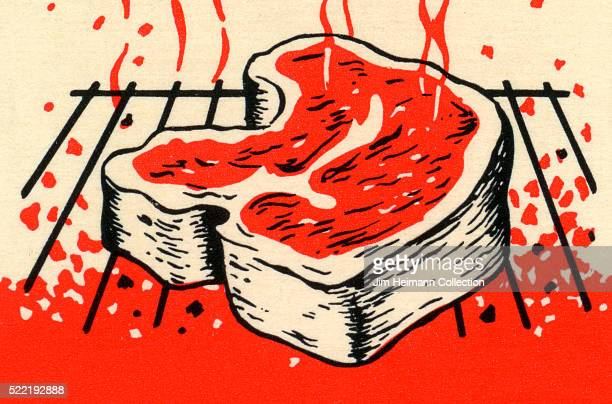 Matchbook image of large cut of Tbone steak cooking on hot grill