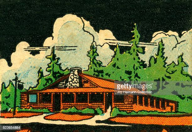 Matchbook image of large log cabin surrounded by evergreen trees and large puffy clouds Ad for Clayton's Log Cabin