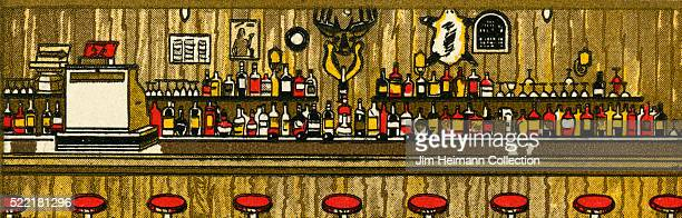 Matchbook image of long bar counter with red barstools cash register bottles lined up and moose or deer head on wall