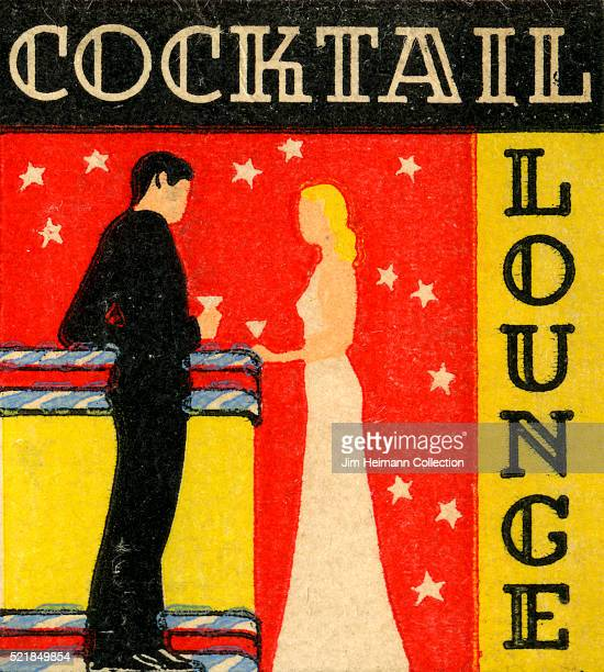 Matchbook image of man and woman standing at a bar and drinking together Starry pattern in background