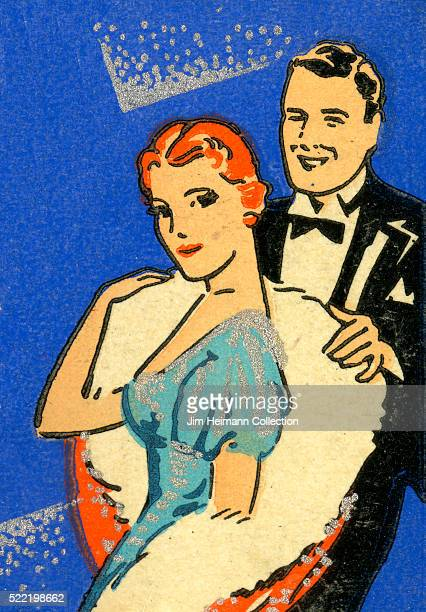 Matchbook image of man in tuxedo helping woman with fur coat