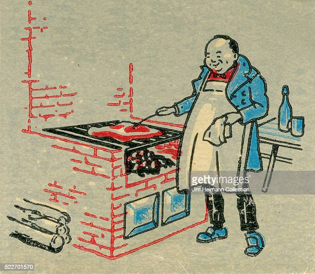 Matchbook image of man wearing apron cooking steak on a brick grill