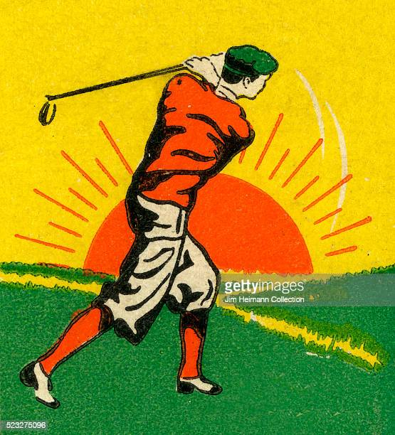 Matchbook image of man wearing knicker and cap swinging golf club Sun is at the horizon