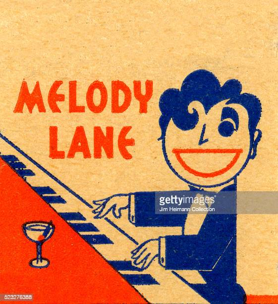 Matchbook image of man with a big smile playing piano with a cocktail nearby as an advertisement for Melody Lane