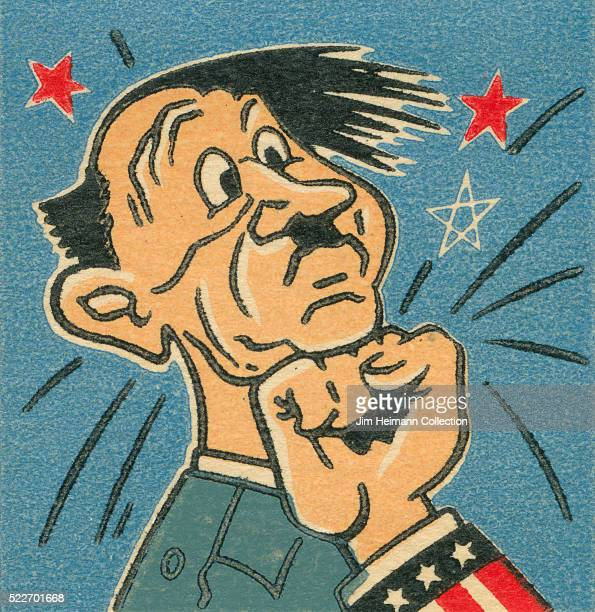 Matchbook image of man with small moustache being punched by fist with stars and stripes Stars in background