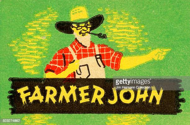 Matchbook image of man with spectacles wearing straw hat overalls plaid shirt smoking pipe and pointing Ad for Farmer John